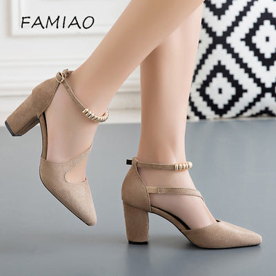 FAMIAO Women Shoes Pointed Toe Pumps Dress Shoes High Heels Boat Shoes