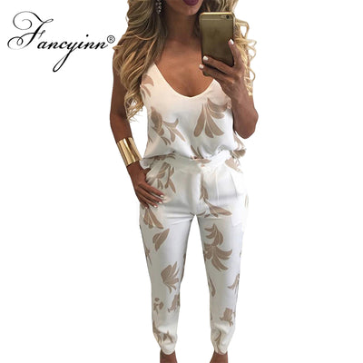 FANCYINN 2 Piece Sexy Spaghetti Strap Pocket Long Rompers Print