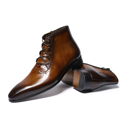 FELIX CHU Genuine Leather Men Ankle Boots