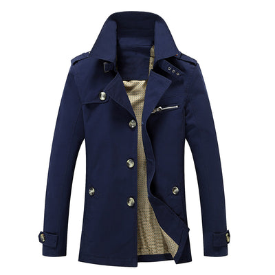 FGKKS Fashion Solid Color Casual Slim Fit Overcoat Trench Coats