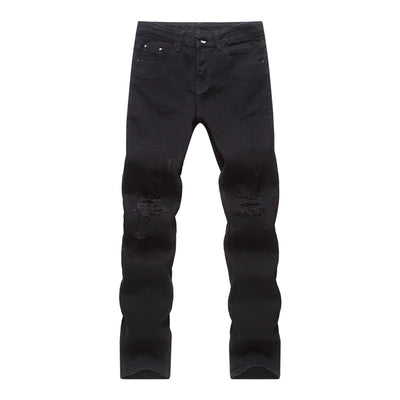 FGKKS Ripped Men Patchwork Hollow Out Printed Beggar Cropped Pants