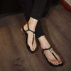 FOREADA Genuine Leather Crystal Flat Shoes Buckle Open Toe T-Strap Sandals Gold Plus Size 3-12