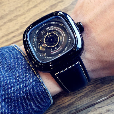 Fashion Luxury Square Watch Automatic Mechanical Tourbillon Skeleton Large Dial Waterproof Leather Strap