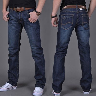 Fashion Men Casual Jeans Straight High Elastic Feet Jeans