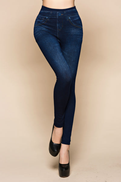 Slim Women Leggings Faux Denim Jeans Leggings Sexy Long Pocket Printing
