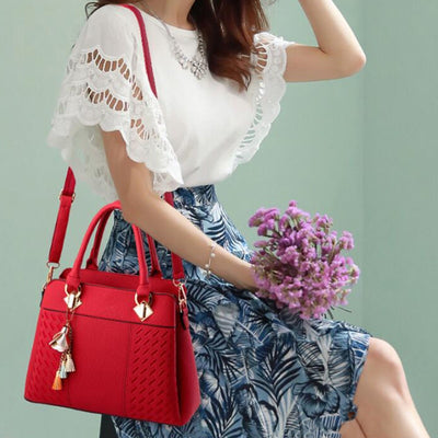 Tassel PU Leather Totes Top-handle Embroidery Crossbody Shoulder Simple Style Hand Bags