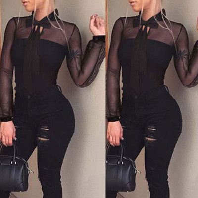 Fashion Ladies Sexy Leotard Tulle Long Sleeve Bandage Tops Thin S-XL