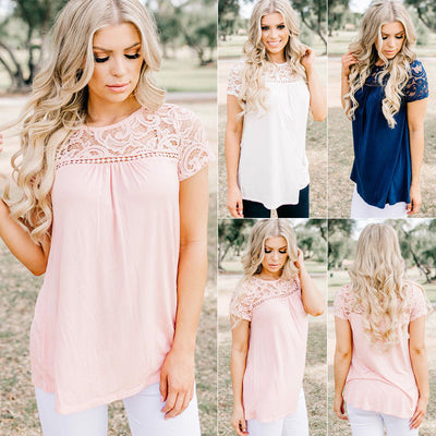 Fashion Summer Blouse Casual Solid Summer Short Sleeve Lace