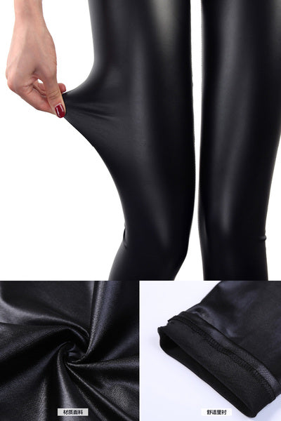d2b2198b696a9 Faux Leather Leggings Navy Blue Sexy Women Legging - Live a Classic ...