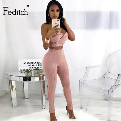 Feditch Jumpsuit Fashion Suede Sexy Strapless Jumpsuit