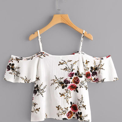 Feitong Blouses Sexy Cold Shoulder Floral Print Crop Tops