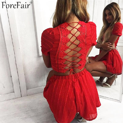 ForeFair Hollow Out Lace Short Sleeve Backless Sexy Jumpsuit Rompers