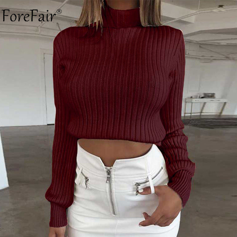 855df6daae2a90 Forefair Cotton Casual Winter Long Sleeve Crop Autumn Knitted Pullover  Sweaters