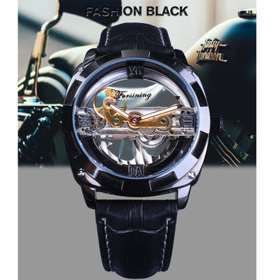 Forsining Double Side Transparent Military Mens Leather Automatic Sport Watch