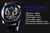 Forsining Tourbillion Fashion Wave Black Golden Display Mens Automatic Watches
