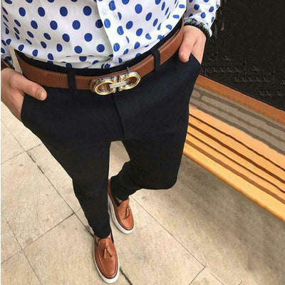 Four Seasons Casual Business Slim Fit Solid Zipper Business Long Elegant Pants Trousers