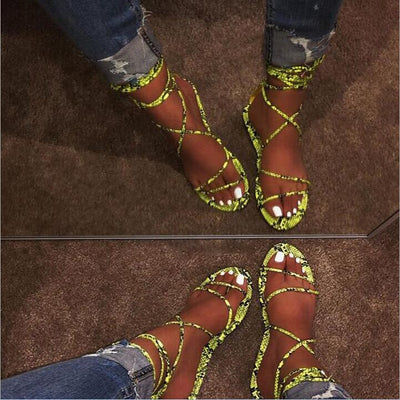 Slippers summer sexy snake cross bandage flat bottom ladies sandals