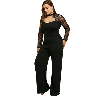Gamiss Wide Leg Lace Sleeve Cut Out Hollow Out High Waist Zipper Fly Plus Size 5XL