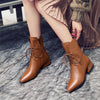 Genuine Leather Brown Pointed Toe Ankle Boots Low Heel Square Spring and Autumn Female Ankle Boots
