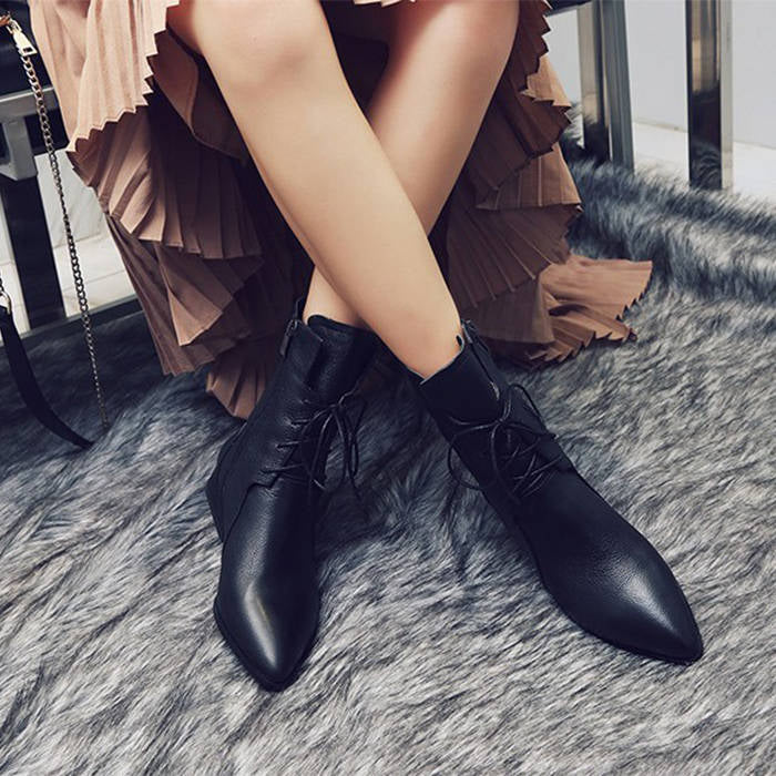 Genuine Leather Brown Pointed Toe Ankle