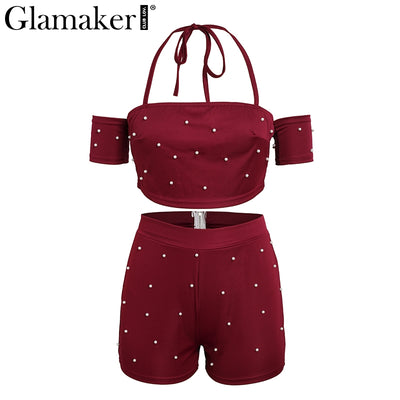 Glamaker Sexy halter strap two-piece jumpsuit romper