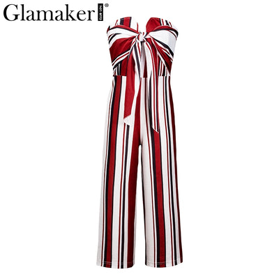 Glamaker Strapless bow bandage Sexy loose backless Striped romper