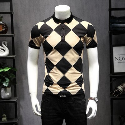 Great Designer Plaid Argyle Polos US Polo  Short Sleeve Diamond Patchwork Color Breathable Shirt 5XL 9256