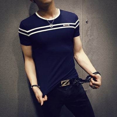 GustOmerD Solid Color Short Sleeves Stripe Fold Slim Fit Casual tee shirt man