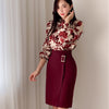H Han Queen Spring Sexy Print Casual OL Work Wear 2 Pieces Set Sheath Pencil Bodycon Suit skirt