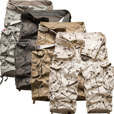 HANQIU Cotton Cargo Camouflage Multi-Pocket Casual Outdoors Tolling Short Pants