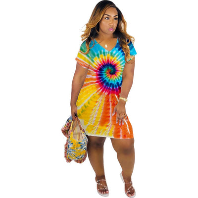 HAOOHU Tie dye black hole colorful print v-neck knee length midi sexy night party bodycon dresses