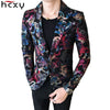 HCXY Floral Stylish Slim Fit Pattern Night club Mens Blazer M-3XL