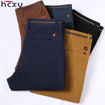 HCYX Pants Cotton Slim Male Pant Straight Pants Men Plus Size