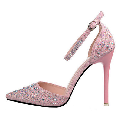 HENGSCARYING Sexy Women High Heels Sandals Glittery Buckle Strap Stiletto