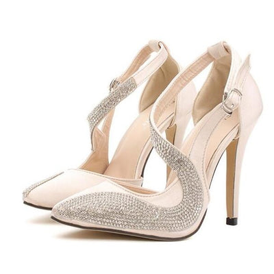 HEVXM High Quality Diamond Sexy High Heels Leather Pumps