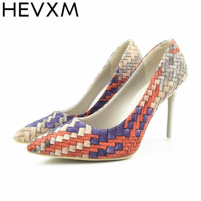 HEVXM Pumps Shoes National Wind Retro Plaid Heels Pointed