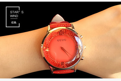 HK GUOU Brand Quartz Rhinestone Waterproof Women's Watch Genuine Leather