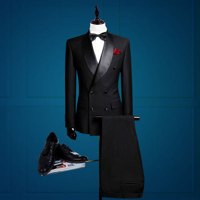 Handsome Groomsmen Tuxedos Shawl Satin Lapel Men Suits ( Jacket+Pants+Tie)