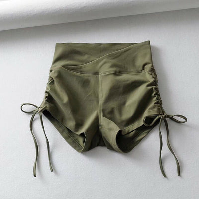 High Elastic Yoga Fitness Drawing Rope Wrinkle High Waist Running Short Tights