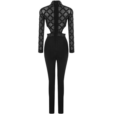 High Quality Black Long Sleeve Beading Hollow Out Rayon Bandage Cocktail Party Bodycon Jumpsuit