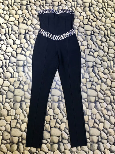 Black Sleeveless Strapless Beading Rayon Bodycon Bandage Rompers Jumpsuits