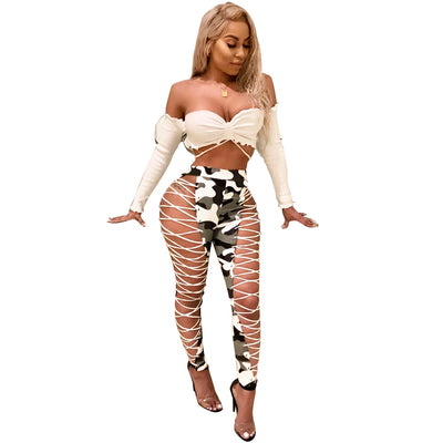 High Waist Bandage Capris Leggings Women Trousers Club Eyelets Hole