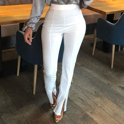 High Waisted Split Trousers Autumn Elastic Soft Black White Pants For Women Clothes