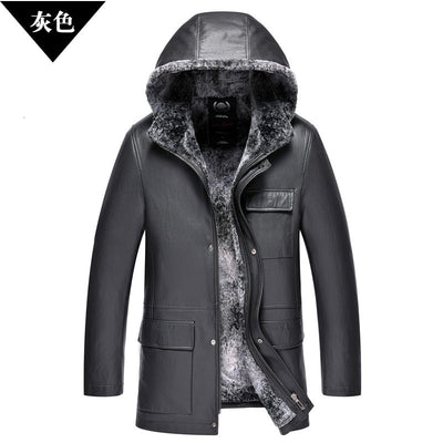 High quality soft warm Snow Rabbit Fur Coat One Male business Hat Man Long Leather fur Clothing