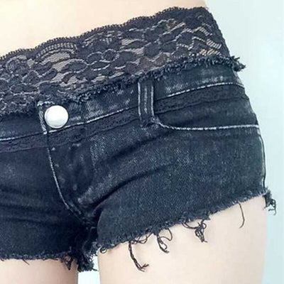 High waist Sexy denim shorts cotton Lace Splicing zipper hole Skinny super short jeans
