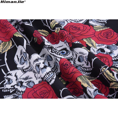 HimanJie Retro Vintage Style Sleeveless 3D Skull Floral Printed Women Dress