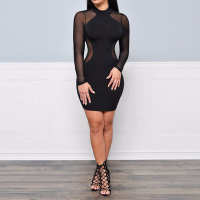 Hollow Out Mesh  Women Patchwork Swing Cocktail Bodycon Women Little Black Dress