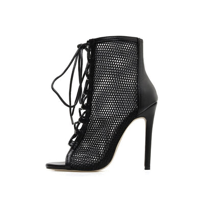 Hollow Cross Tied Lace Up Stiletto High Heels Ankle Boot Fashion Peep Toe Short Boots Sexy Party Shoe