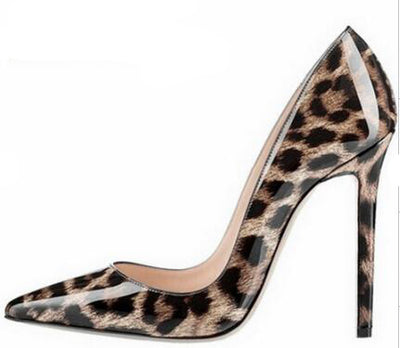 Leopard high heels dress thin heel outfit pumps slip-on pointed toe stiletto heels
