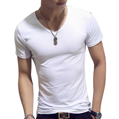 V Neck Short Sleeve Casual Cotton Fitness T-Shirt
